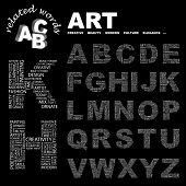 ART. Vector letter collection. Wordcloud illustration.