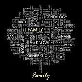 FAMILY. Word collage on black background. Vector illustration.