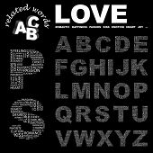 LOVE. Vector letter collection. Wordcloud illustration.