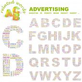ADVERTISING. Vector letter collection. Wordcloud illustration.