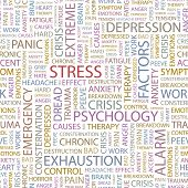 STRESS. Seamless vector pattern with word cloud.