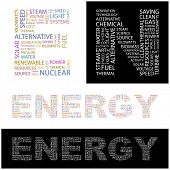 ENERGY. Word collage. Vector illustration.