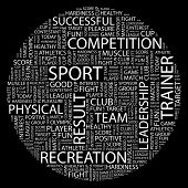SPORT. Word collage on black background. Illustration with different association terms.