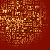 GLOBALIZATION. Word collage. Illustration with different association terms.
