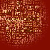 GLOBALIZACIÓN. Collage de la palabra. Ilustración con términos diferentes de la asociación.