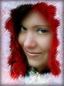 Winter Hoarfrost Framed Girl Portrait