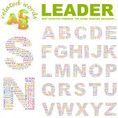 LEADER. Vector letter collection. Illustration with different association terms.