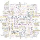 GLOBALIZATION. Word collage on white background. Illustration with different association terms.
