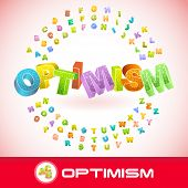 OPTIMISM. Vector 3d illustration.