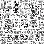LOGISTICS. Seamless vector pattern with word cloud. Illustration with different association terms.