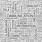 COMMUNICATION. Seamless vector pattern with word cloud. Illustration with different association term