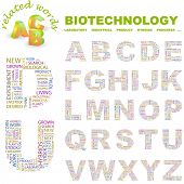 BIOTECHNOLOGY. Vector letter collection. Illustration with different association terms.