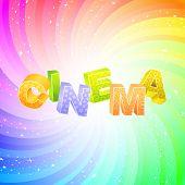 CINEMA. Word collage on white background. Vector illustration.