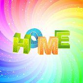 HOME. Rainbow 3d illustration.