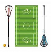 Lacrosse Field And Sticks And Balls poster