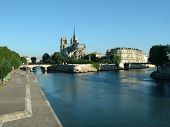 image of notre dame  - a view of the notre dame and the siene river in paris - JPG