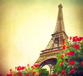 Постер, плакат: Paris Eiffel Tower at sunrise Paris France Beautiful Romantic background Eiffel Tower from Cham