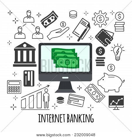 Sending And Receiving Money Illustration  Flat Line Design Style Concept  For E-commerce, M-commerce, poster