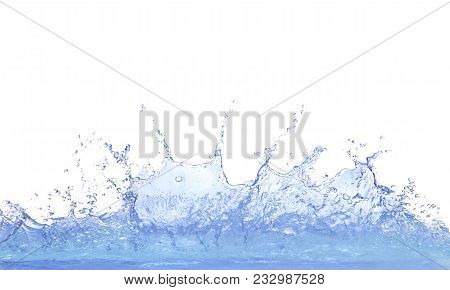 poster of Splashing Clear Water On White Background Use For Refreshment And Cool Dring Water Background