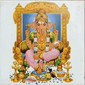 picture of ganapati  - ceramic tile with image of hindu deity Ganesha  - JPG