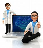 3D neurologist doctors with a laptop displaying a brain - isolated