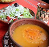 Beans soup and salad