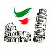 Italy Culture Symbols Or Italian Travel Famous Landmarks Vector Icons Set, Colosseum, Leaning Tower  poster