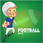 Football Text American Football Player Background Vector Image poster