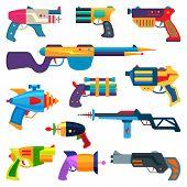 Постер, плакат: Cartoon Gun Vector Toy Blaster For Kids Game With Handgun And Raygun Of Aliens In Space Illustration