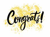 Congrats Hand Written Lettering For Congratulations Card, Greeting Card, Invitation, Poster And Prin poster
