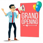 Businessman Announce Concept Vector. Screaming Announcement Banner Design. Man With Megaphone. Grand poster