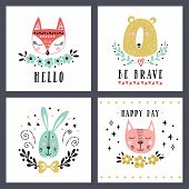 Vector Set Of Cute Animals: Fox, Bear, Rabbit, Cat. Illustrations For Childrens Prints, Greetings,  poster
