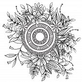 Floral Pattern In Black And White. Adult Coloring Book Page With Flowers And Mandala. Art Therapy, A poster