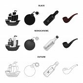 Pirate, Bandit, Ship, Sail .pirates Set Collection Icons In Black, Monochrome, Outline Style Vector  poster
