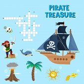 Pirate Puzzle Treasure Adventure Crossword Puzzle Maze Education Game For Children About Pirates Fin poster
