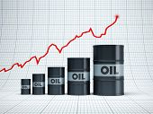 rising oil barrel, 3d rendering