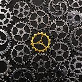 Golden cogwheel in the center, surrounded by metal cogwheels on a black background. Individuality an poster