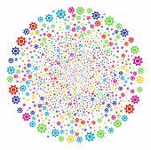 Multicolored Cogwheel Burst Round Cluster. Vector Sphere Fireworks Combined From Scattered Cogwheel  poster