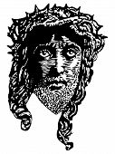 Engraving portrait of Jesus vector