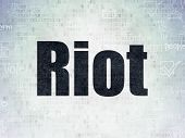Political Concept: Painted Black Text Riot On Digital Data Paper Background With   Hand Drawn Politi poster