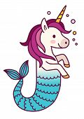 Cute Unicorn Mermaid Simple Vector Cartoon Illustration. Magical Creature With Unicorn Head And Body poster