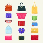 Woman Bag Vector Girls Handbag Or Purse And Shopping-bag Or Baggy Package From Fashion Store Illustr poster