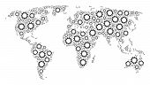 Continent Map Pattern Done Of Cogwheel Design Elements. Vector Cogwheel Pictograms Are Composed Into poster