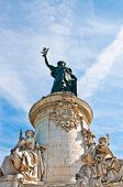 The Famous Statue of the Republic in Paris.The Statue of the Republic was built in 1880 in the cente
