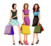 three shopping women