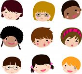 Set of cartoon children face vector 2
