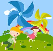 children and pinwheel