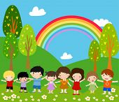 Children and rainbow - Art Vector Illustration.