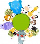 Happy cartoon world globe surrounded by animals