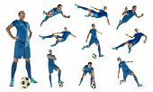 Professional Man - Football Soccer Player With Ball Isolated White Studio Background. Collage With O poster